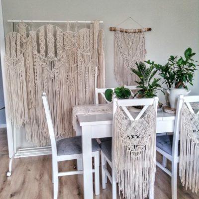 Zestaw na ceremonię ślubną - łapacze na ściankę i makramy na krzesła